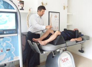 Patient having IDD Therapy spinal decompression treatment